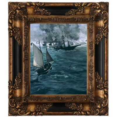 'The Battle of the U.S.S. Kearsarge and the C.S.S. Alabama 1864' by Edouard Manet Framed Graphic Art Print on Canvas Size: 15.25
