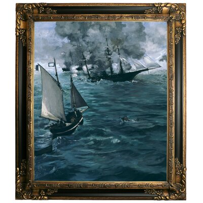 'The Battle of the U.S.S. Kearsarge and the C.S.S. Alabama 1864' by Edouard Manet Framed Graphic Art Print on Canvas Size: 29.25
