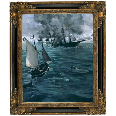 'The Battle of the U.S.S. Kearsarge and the C.S.S. Alabama 1864' by Edouard Manet Framed Graphic Art Print on Canvas Size: 25.25