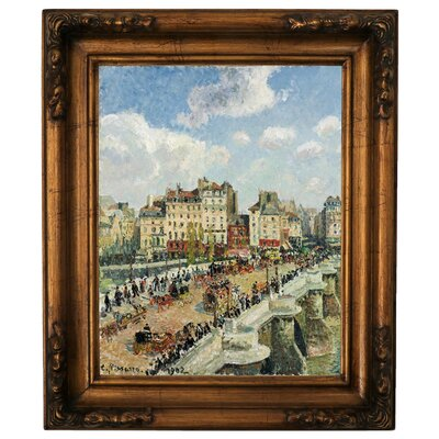 'The Pont-Neuf 1902' by Camille Pissarro Framed Graphic Art Print on Canvas Size: 14.5