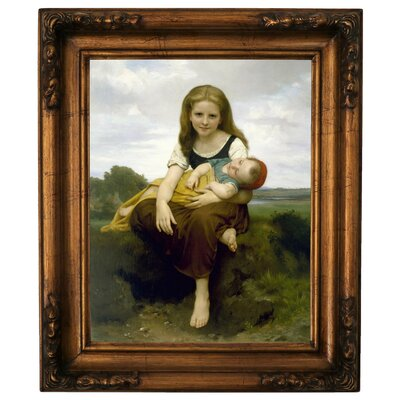 'The Elder Sister 1869' Framed Graphic Art Print on Canvas Size: 19.5