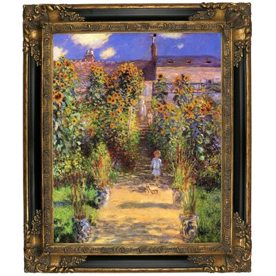 'Monets Garden in Vetheuil' by Claude Monet Framed Graphic Art Print on Canvas Size: 12.75