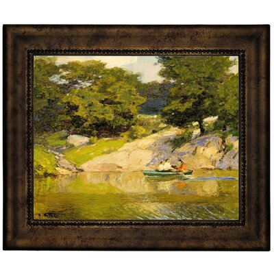 'Boating in Central Park 1900' Framed Graphic Art Print on Canvas Size: 10.75