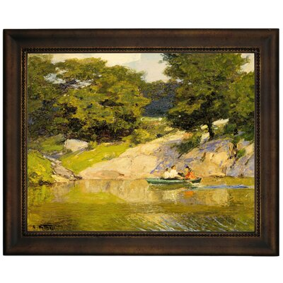 'Boating in Central Park 1900' Framed Graphic Art Print on Canvas Size: 13.75