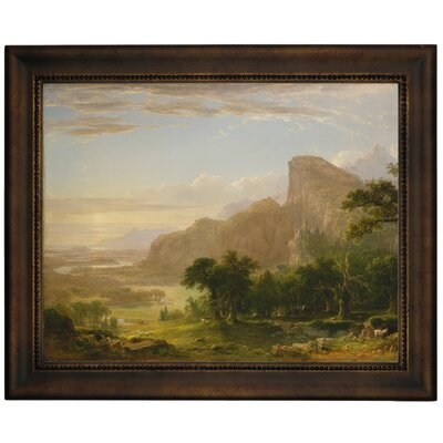 'Landscape Scene from Thanatopsis 1850' Framed Graphic Art Print on Canvas Format: Bronze Frame, Size: 10.75