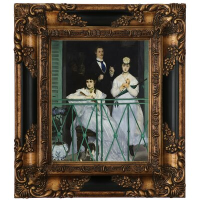 'The Balcony 1868' by Edouard Manet Framed Graphic Art Print on Canvas Size: 15.25