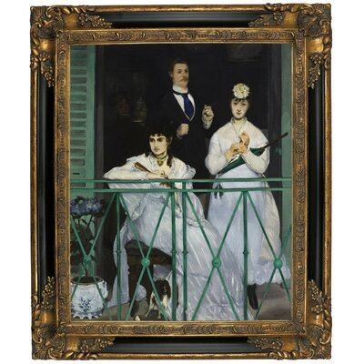 'The Balcony 1868' by Edouard Manet Framed Graphic Art Print on Canvas Size: 19.25