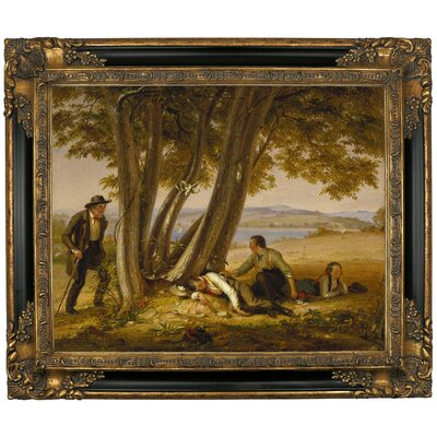 'Boys Caught Napping in a Field 1848' Framed Graphic Art Print on Canvas Size: 21.25