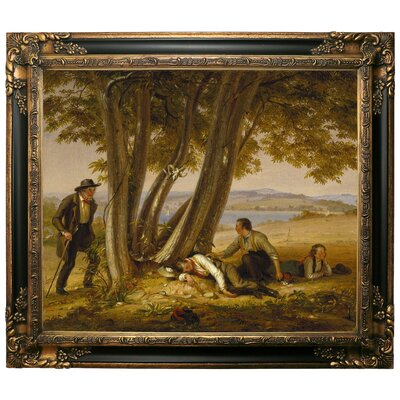 'Boys Caught Napping in a Field 1848' Framed Graphic Art Print on Canvas Size: 25.25