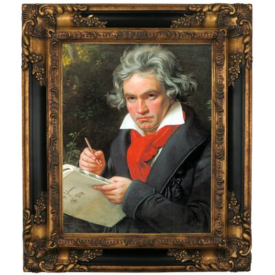 'Portrait of Ludwig van Beethoven When Composing the Missa Solemnis' Framed Graphic Art Print on Canvas Size: 19.25