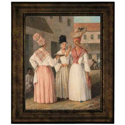 'A West Indian Flower Girl and Two Other Free Women of Colour 1769' Framed Graphic Art Print on Canvas b1019-brunias0005-8x10-cmfr6396g80