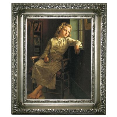 'Girl at the Window 1890' Framed Graphic Art Print on Canvas Size: 13