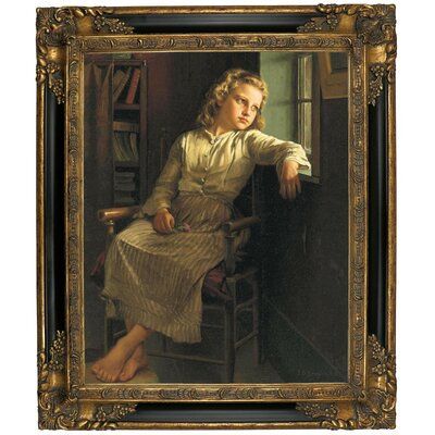 'Girl at the Window 1890' Framed Graphic Art Print on Canvas Size: 25.25