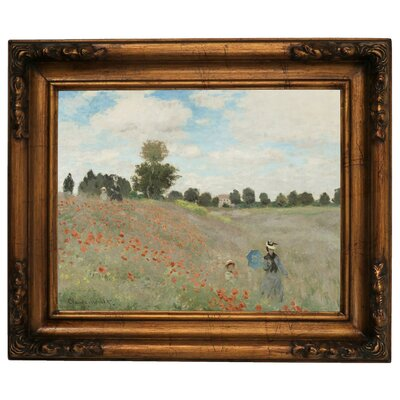 'Poppy Fields' by Claude Monet Framed Graphic Art Print on Canvas Size: 15.5