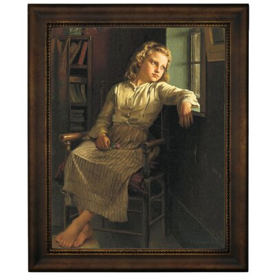 'Girl at the Window 1890' Framed Graphic Art Print on Canvas Size: 16.75