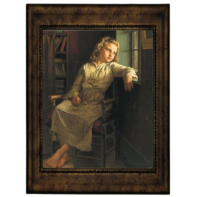 'Girl at the Window 1890' Framed Graphic Art Print on Canvas Size: 12.75