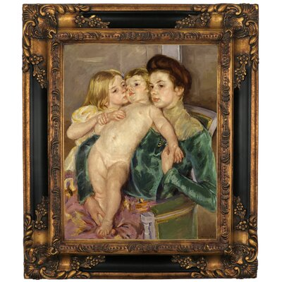 'The Caress 1902' by Mary Cassatt Framed Graphic Art Print on Canvas Size: 19.25