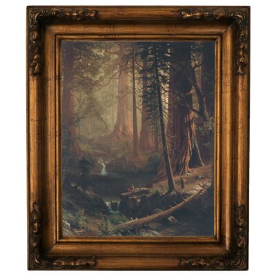 'Giant Redwood Trees of California 1874' Framed Graphic Art Print on Canvas Size: 19.5
