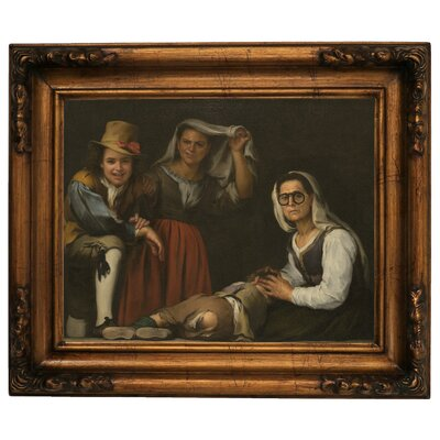'Four Figures on a Step 1655' Framed Graphic Art Print on Canvas Size: 12.5