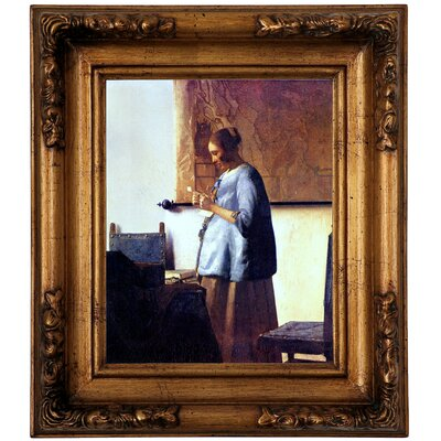 'Women in Blue Reading a Letter' by Johannes Vermeer Framed Graphic Art Print on Canvas Format: Gold Frame, Size: 14.5