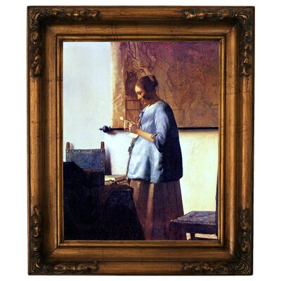 'Women in Blue Reading a Letter' by Johannes Vermeer Framed Graphic Art Print on Canvas Format: Gold Frame, Size: 19.5