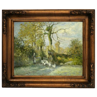 'The Goose Girl at Montfoucault White Frost 1875' by Camille Pissarro Framed Graphic Art Print on Canvas Size: 15.5