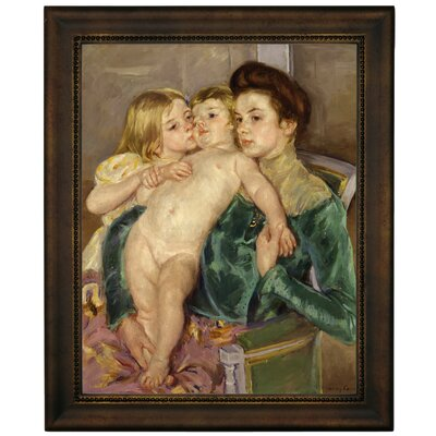 'The Caress 1902' by Mary Cassatt Framed Graphic Art Print on Canvas Size: 16.75