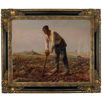 'Man with a Hoe 1860' Framed Graphic Art Print on Canvas Size: 10.75