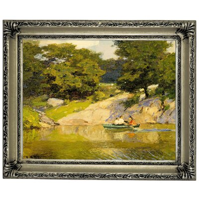'Boating in Central Park 1900' Framed Graphic Art Print on Canvas Size: 14