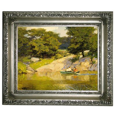 'Boating in Central Park 1900' Framed Graphic Art Print on Canvas Size: 11
