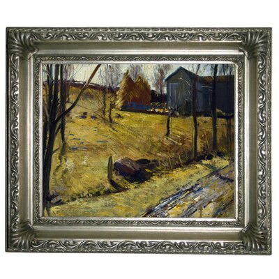 'Haystacks and Barn 1909' Framed Graphic Art Print on Canvas Size: 11