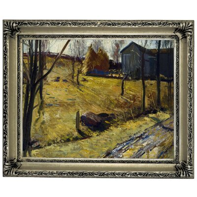 'Haystacks and Barn 1909' Framed Graphic Art Print on Canvas Size: 14