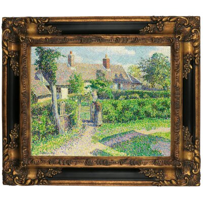 'Peasants Houses, Eragny 1887' by Camille Pissarro Framed Graphic Art Print on Canvas Size: 21.25