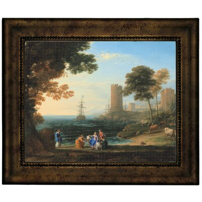 'Coast View with the Abduction of Europa 1645' Framed Graphic Art Print on Canvas Size: 10.75