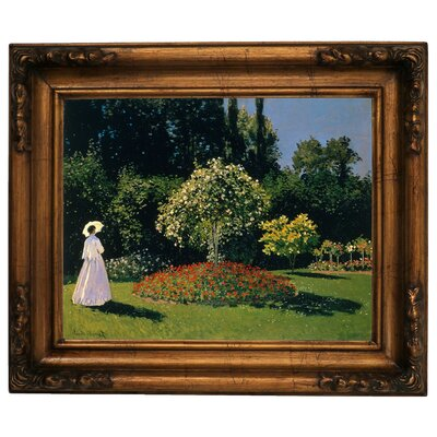 'Women in the Garden 2' by Claude Monet Framed Graphic Art Print on Canvas Format: Gold Frame, Size: 15.5