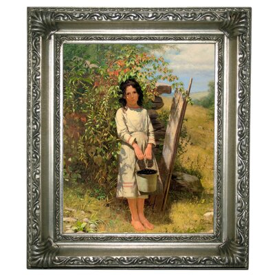 'Blackberry Picking 1875' Framed Graphic Art Print on Canvas Size: 13
