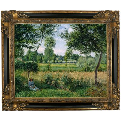 'Morning Sunlight Effect, Eragny 1899' by Camille Pissarro Framed Graphic Art Print on Canvas Size: 21.25