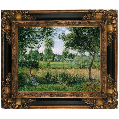 'Morning Sunlight Effect, Eragny 1899' by Camille Pissarro Framed Graphic Art Print on Canvas Size: 16.25