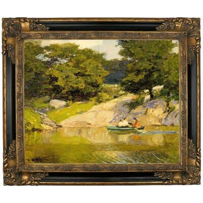 'Boating in Central Park 1900' Framed Graphic Art Print on Canvas Size: 21.25