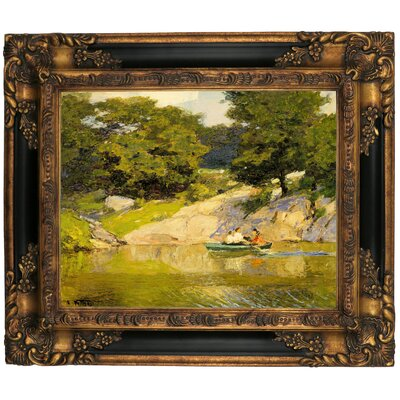 'Boating in Central Park 1900' Framed Graphic Art Print on Canvas Size: 16.25