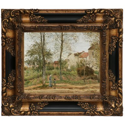 'Houses at Bougival Autumn 1870' by Camille Pissarro Framed Graphic Art Print on Canvas Size: 16.25
