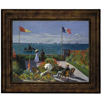 'Garden at Sainte Adresse' by Claude Monet Framed Graphic Art Print on Canvas Size: 10.75
