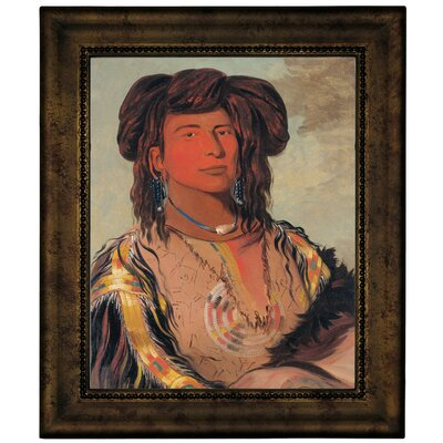 'Ha-won-je-tah One Horn Head Chief of the Miniconjou Tribe 1832' Framed Graphic Art Print on Canvas Size: 12.75