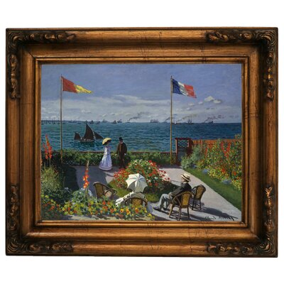 'Garden at Sainte Adresse' by Claude Monet Framed Graphic Art Print on Canvas Size: 15.5