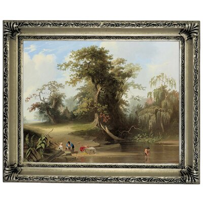 'Landscape - Rural Scene 1845' Framed Graphic Art Print on Canvas Format: Silver Frame, Size: 11