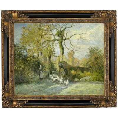 'The Goose Girl at Montfoucault White Frost 1875' by Camille Pissarro Framed Graphic Art Print on Canvas Size: 16.25