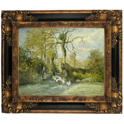 'The Goose Girl at Montfoucault White Frost 1875' by Camille Pissarro Framed Graphic Art Print on Canvas Size: 13.25