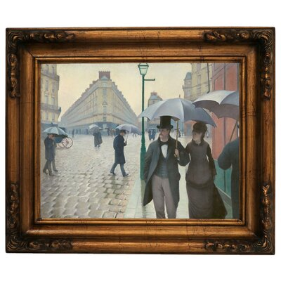 'Paris Street in Rainy Weather 1877' Framed Graphic Art Print on Canvas Size: 15.5