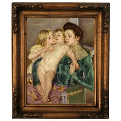 'The Caress 1902' by Mary Cassatt Framed Graphic Art Print on Canvas Size: 19.5