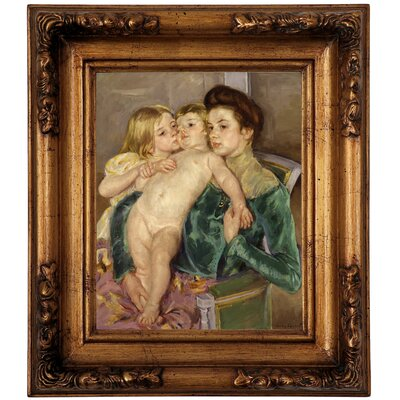 'The Caress 1902' by Mary Cassatt Framed Graphic Art Print on Canvas Size: 14.5